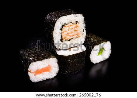 sushi over black background