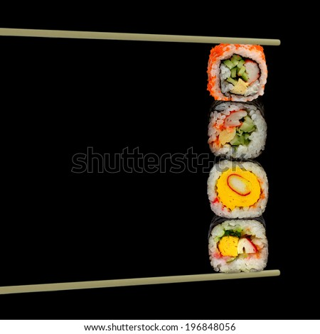 Sushi pieces collection, isolated on black background - stock photo
