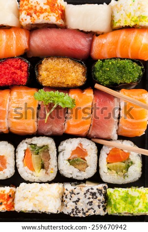 Sushi pieces shot from aerial perspective - stock photo