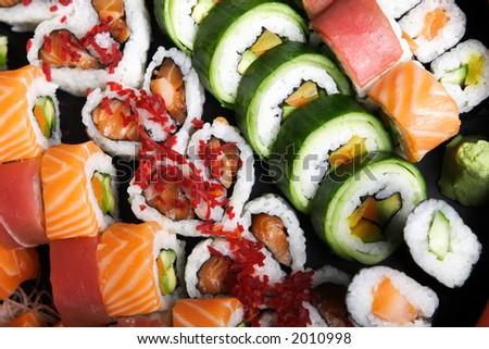 sushi plate - stock photo