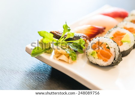 Sushi rice roll japanese food style - Selective focus point - stock photo