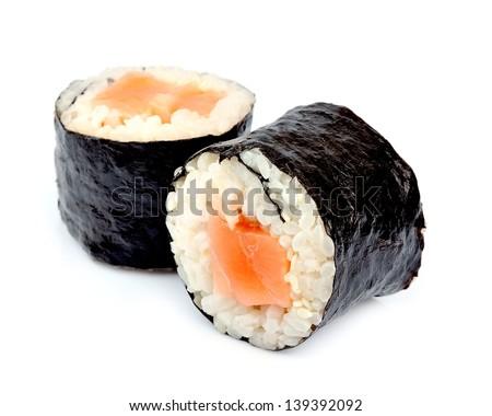 Sushi roll isolated on white close up - stock photo