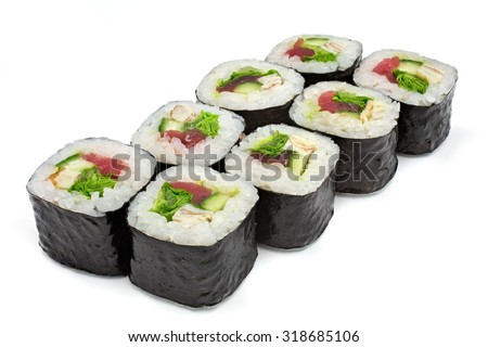 sushi , roll, Japanese seafood sushi , roll on a white background - stock photo