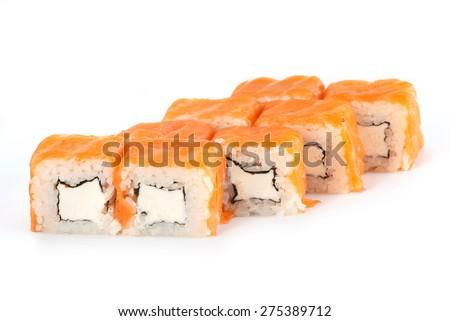 Sushi Roll - Maki Sushi Philadelphia with Cream Cheese and Salmon isolated on white background - stock photo