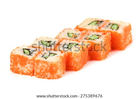 Sushi Roll - Maki Sushi with Cucumber, Salmon Roe and Cream Cheese inside, isolated on white background - stock photo