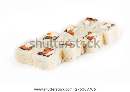 Sushi Roll - Maki Sushi with Smoked Eel, Salmon, Sesame, Avocado and Cream Cheese isolated on white background - stock photo