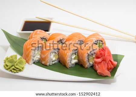 Sushi roll on a plate  - stock photo
