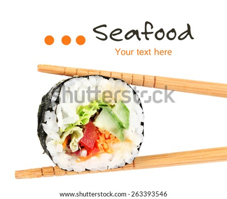Sushi roll with chopsticks isolated on white - stock photo