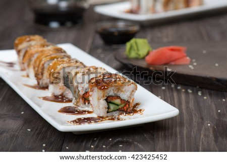 Sushi roll with eel