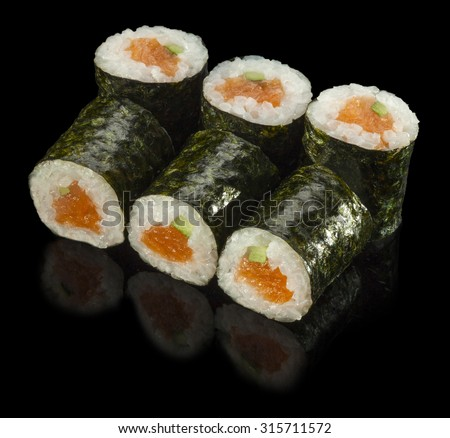 Sushi Roll with Fresh Salmon and Avocado - stock photo
