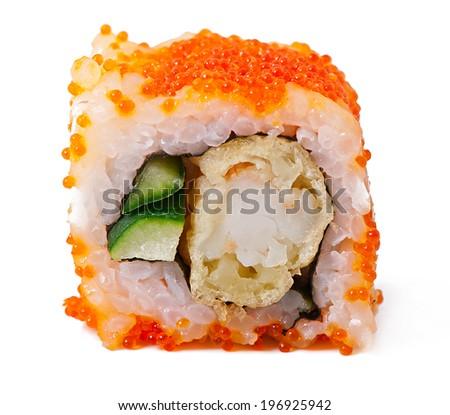 Sushi roll with shrimp tempura isolated on white background - stock photo