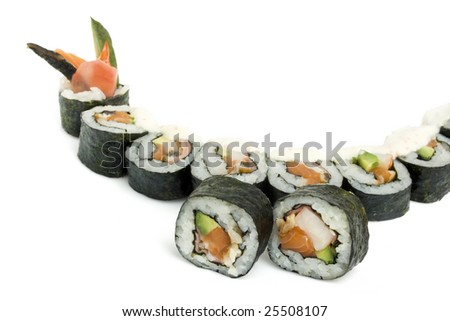 sushi rolls are isolated on the white background