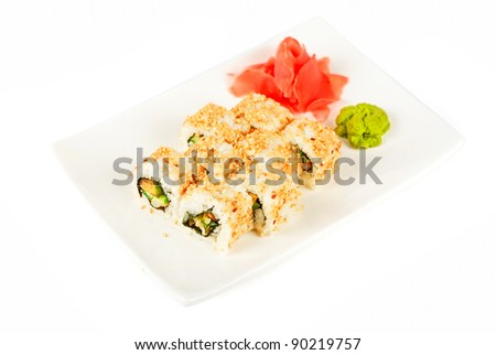 Sushi rolls at plate - stock photo