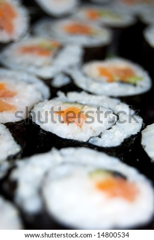 Sushi rolls on a plate