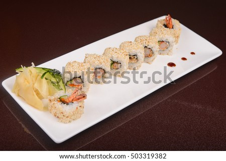 Sushi rolls on a white plate,  japanese food