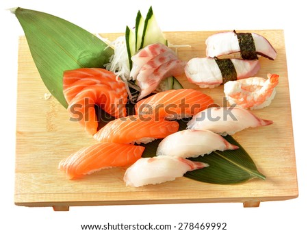 SUSHI, ROLLS, SASHIMI SALMON - stock photo