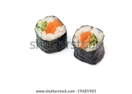 sushi rolls with salmon and cucumber are isolated on the white background