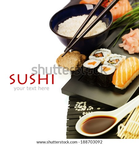 sushi rolls with sushi ingredients  - stock photo