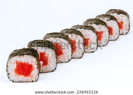 Sushi rolls with tuna fish isolated on white - stock photo