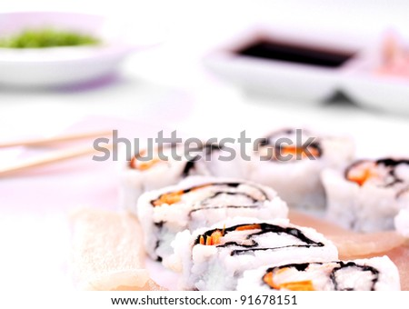 Sushi rolls with wasabi, ginger and soy sauce - stock photo