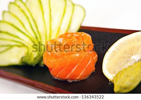 sushi salmon - stock photo