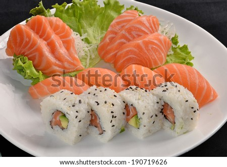 Sushi salmon fish and tuna fish rolls dish.Japanese food. - stock photo