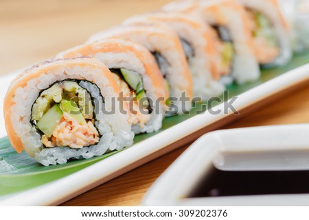Sushi, salmon roll - stock photo
