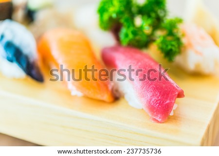 Sushi sashimi japanese food - soft effect style pictures - selective focus point - stock photo