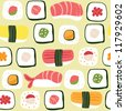 Sushi Seamless Background Repeat - stock vector