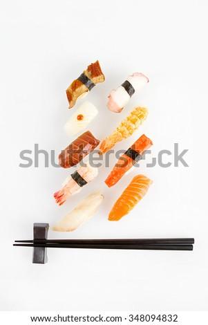 sushi set and chopstick - stock photo