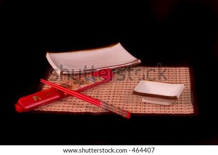 Sushi set and chopsticks - stock photo