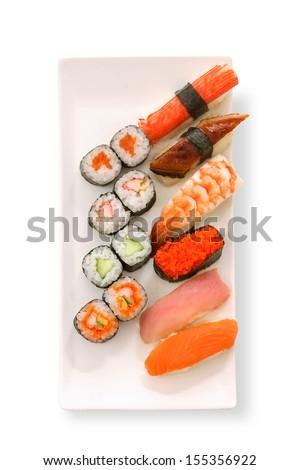 Sushi set in white background - stock photo
