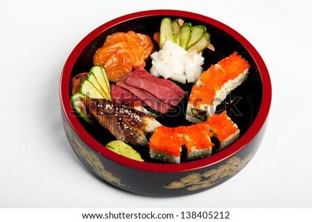 sushi set mix - stock photo