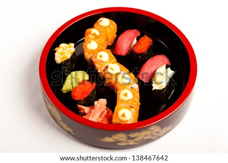 sushi set on a plate - stock photo