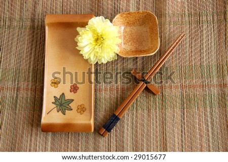 Sushi set on bamboo mat