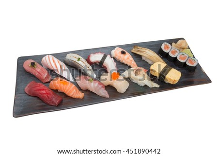 Sushi Set on black plate