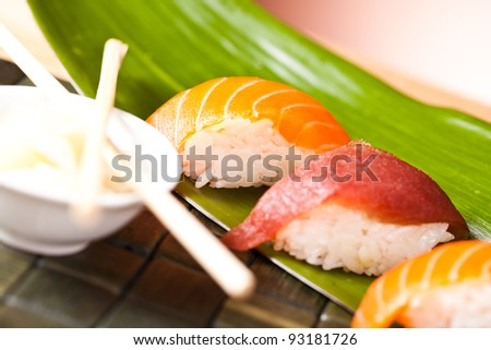 sushi set with salomon and ginger