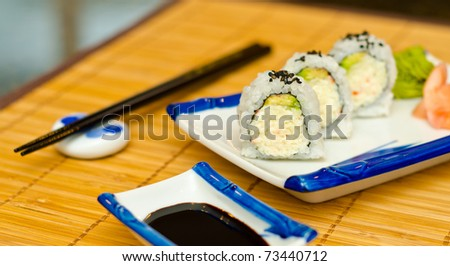 Sushi. Shallow Depth-Of-Field. Focus on the closest roll.