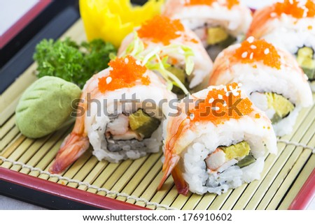 Sushi shrimp rice on white background