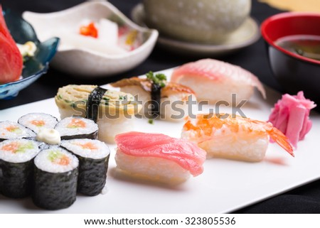 sushi sold in the restaurant - stock photo