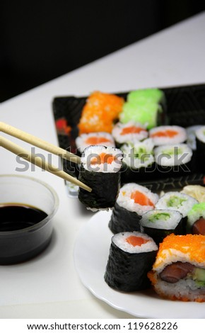 Sushi specialties and chopsticks