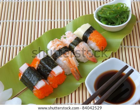 sushi ,traditional japanese food - stock photo