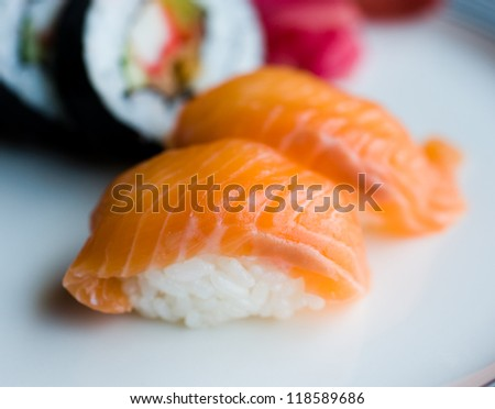 sushi, traditional japanese food. roll made of salmon