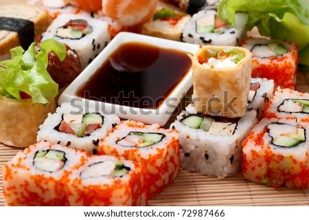 sushi. Traditional Japanese food Sushi. Background. Sushi collection - stock photo