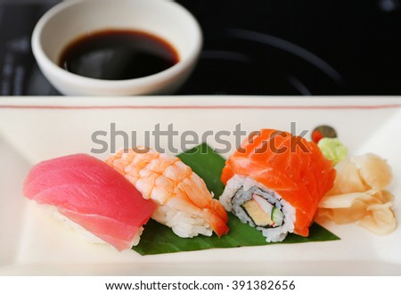 sushi tuna, sushi shrimp, sushi salmon, Japanese food - stock photo