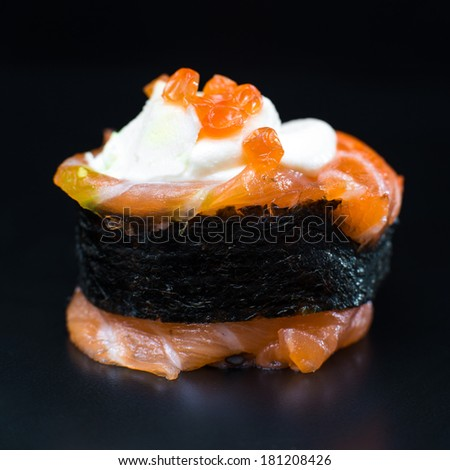 sushi with rice and fish - stock photo