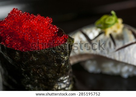 sushi with salmon roe and roe of sturgeon Japanese Food - stock photo
