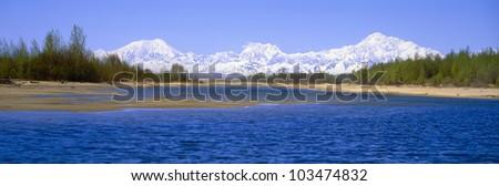 Susitna River and Mount McKinley, Alaska - stock photo