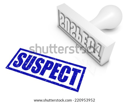 SUSPECT rubber stamp. Part of a series of stamp concepts. - stock photo