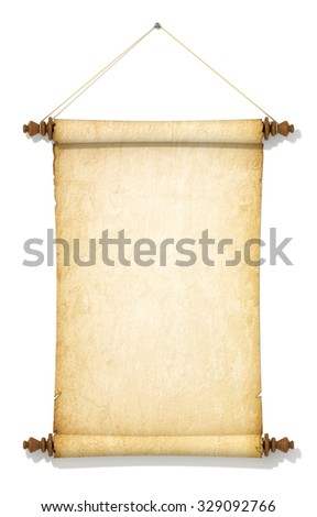 Suspended on a rope and old yellowed roll of paper. - stock photo
